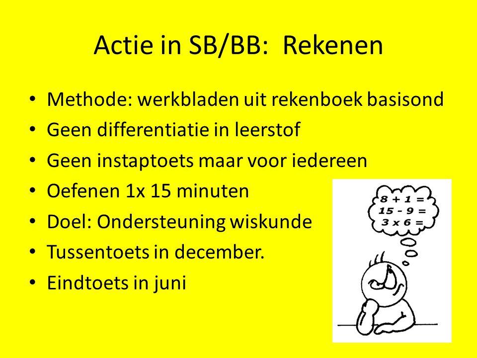 Actie in SB/BB: Rekenen • Methode: werkbladen uit rekenboek basisond • Geen differentiatie in leerstof • Geen instaptoets maar voor iedereen • Oefenen