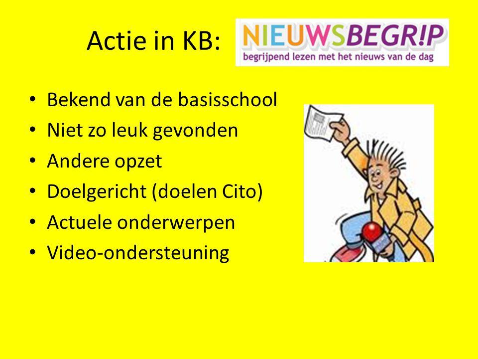 Actie in KB: • Bekend van de basisschool • Niet zo leuk gevonden • Andere opzet • Doelgericht (doelen Cito) • Actuele onderwerpen • Video-ondersteunin