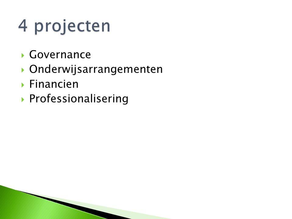  Governance  Onderwijsarrangementen  Financien  Professionalisering