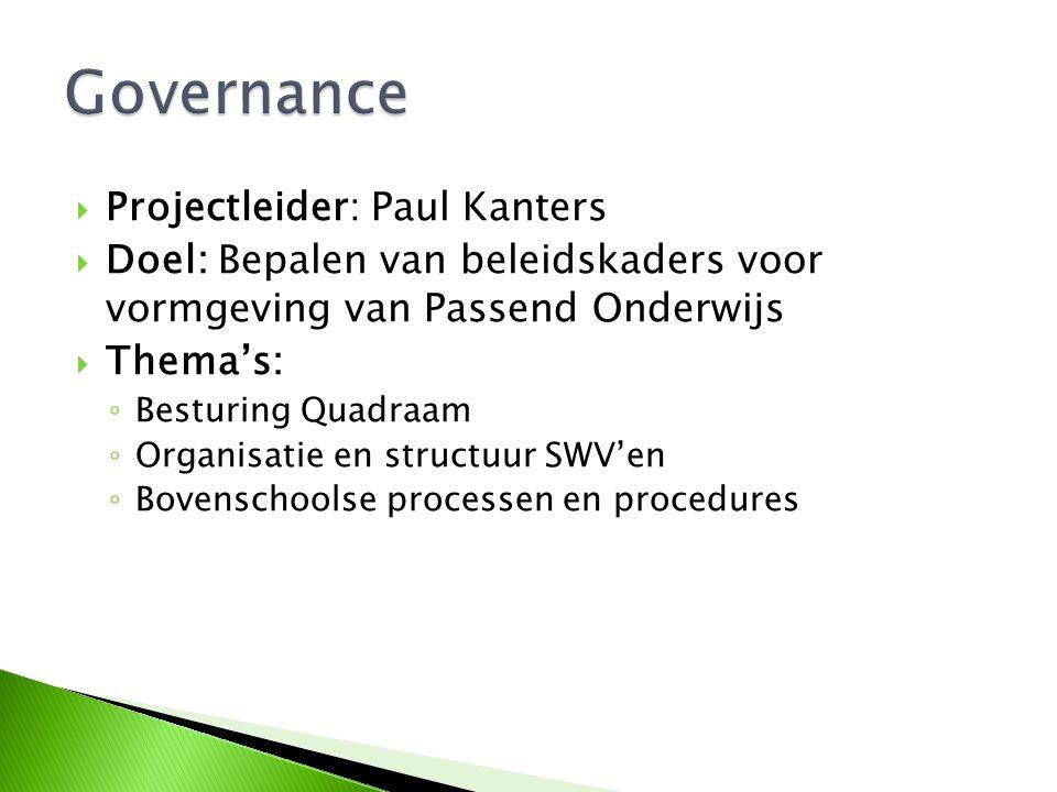  Projectleider: Paul Kanters  Doel: Bepalen van beleidskaders voor vormgeving van Passend Onderwijs  Thema's: ◦ Besturing Quadraam ◦ Organisatie en