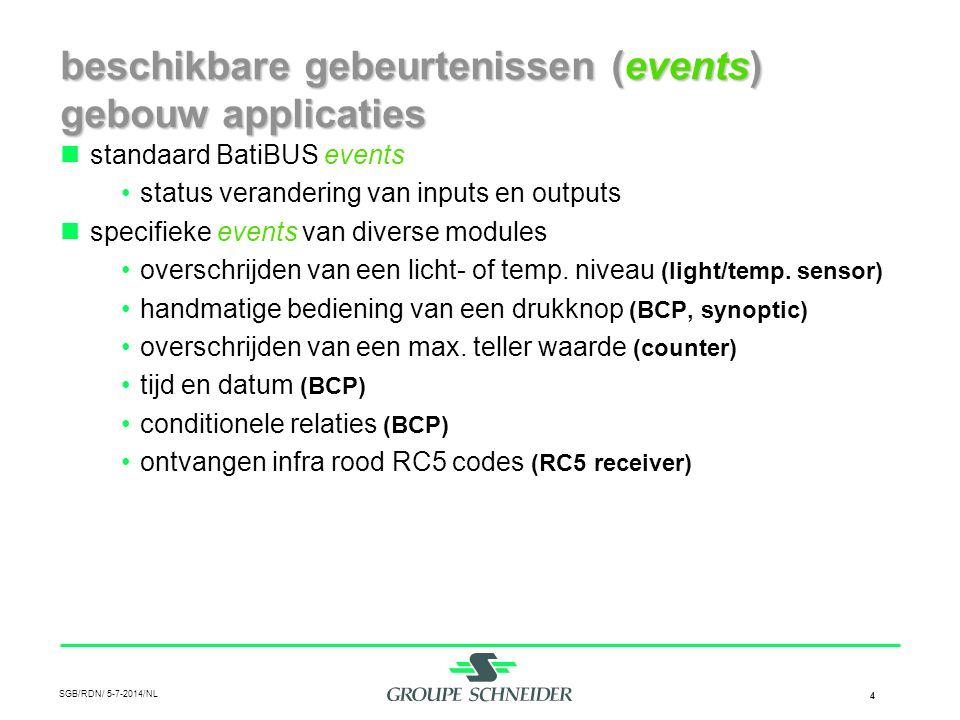 SGB/RDN/ 5-7-2014/NL 4 beschikbare gebeurtenissen (events) gebouw applicaties  standaard BatiBUS events •status verandering van inputs en outputs  s