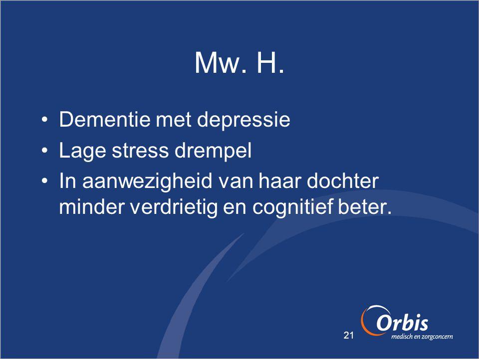21 Mw. H. •Dementie met depressie •Lage stress drempel •In aanwezigheid van haar dochter minder verdrietig en cognitief beter.