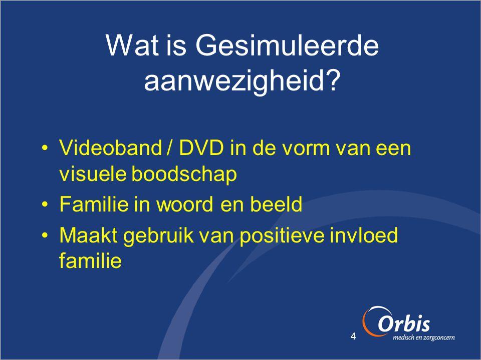 4 Wat is Gesimuleerde aanwezigheid? •Videoband / DVD in de vorm van een visuele boodschap •Familie in woord en beeld •Maakt gebruik van positieve invl