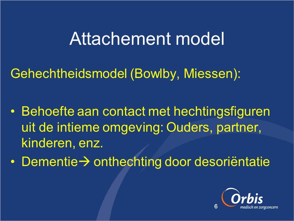 6 Attachement model Gehechtheidsmodel (Bowlby, Miessen): •Behoefte aan contact met hechtingsfiguren uit de intieme omgeving: Ouders, partner, kinderen