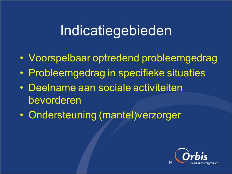 9 Indicatiegebieden •Voorspelbaar optredend probleemgedrag •Probleemgedrag in specifieke situaties •Deelname aan sociale activiteiten bevorderen •Onde