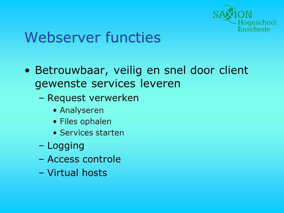 Webserver functies •Betrouwbaar, veilig en snel door client gewenste services leveren –Request verwerken •Analyseren •Files ophalen •Services starten
