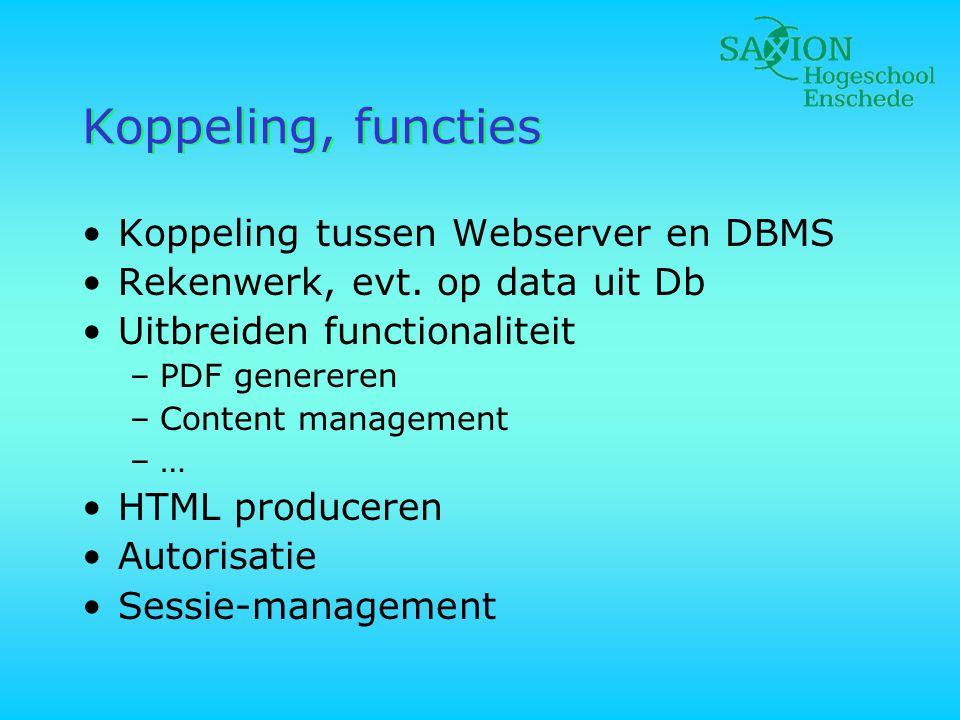Koppeling, functies •Koppeling tussen Webserver en DBMS •Rekenwerk, evt. op data uit Db •Uitbreiden functionaliteit –PDF genereren –Content management