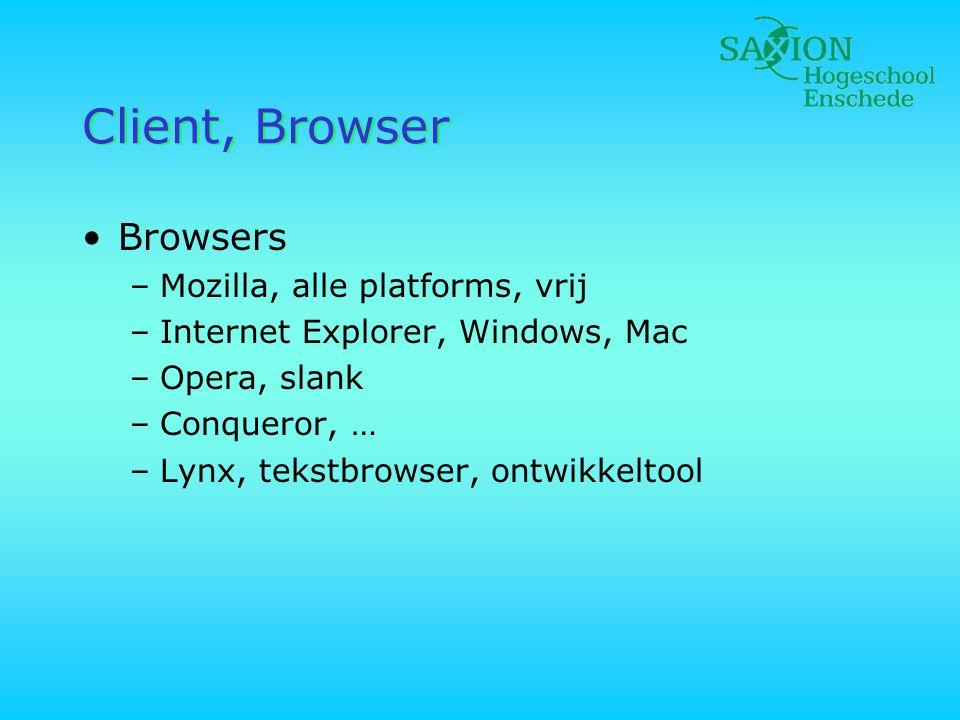Client, Browser •Browsers –Mozilla, alle platforms, vrij –Internet Explorer, Windows, Mac –Opera, slank –Conqueror, … –Lynx, tekstbrowser, ontwikkelto