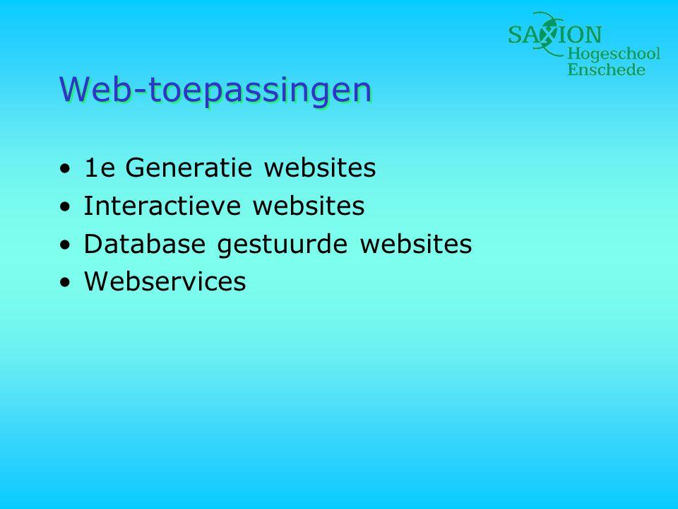 Koppeling, functies •Koppeling tussen Webserver en DBMS •Rekenwerk, evt.