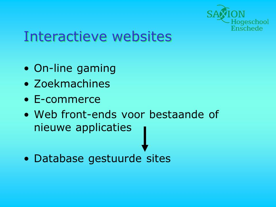 Interactieve websites •On-line gaming •Zoekmachines •E-commerce •Web front-ends voor bestaande of nieuwe applicaties •Database gestuurde sites