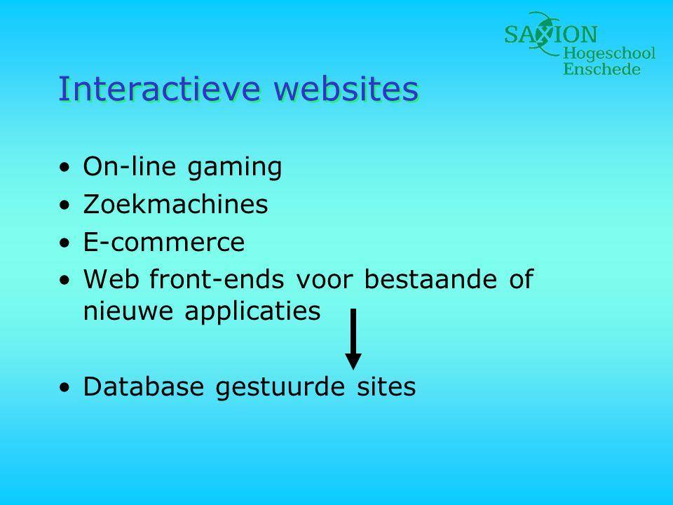 Database gestuurde websites •Grote hoeveelheden gestructureerde informatie •Voordelen: –Klein aantal pagina's met veel inhoud –Consistentie –Actualiteit •Nadelen: –Complexiteit –Performance