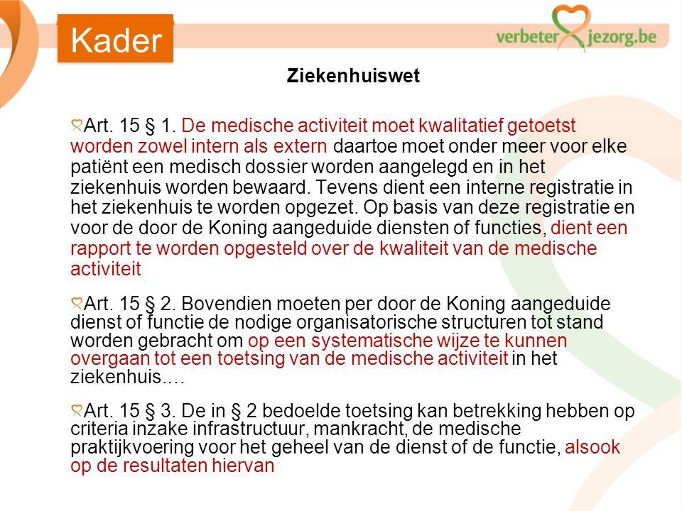 Ziekenhuiswet Art. 15 § 1. De medische activiteit moet kwalitatief getoetst worden zowel intern als extern;daartoe moet onder meer voor elke patiënt e