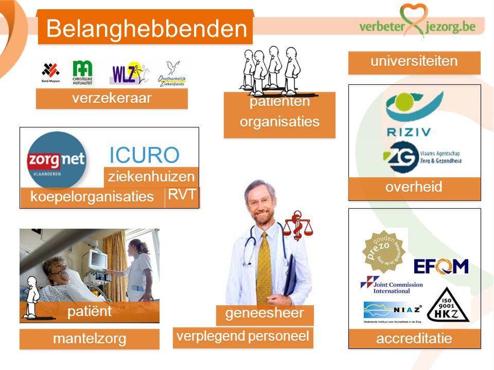 geneesheer ziekenhuizen RVT accreditatie patiënt overheid ICURO Belanghebbenden koepelorganisaties verzekeraar patiënten organisaties patiënten organi