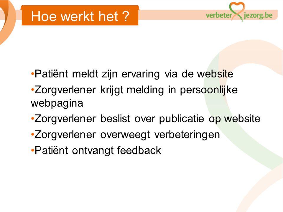•Patiënt meldt zijn ervaring via de website •Zorgverlener krijgt melding in persoonlijke webpagina •Zorgverlener beslist over publicatie op website •Z