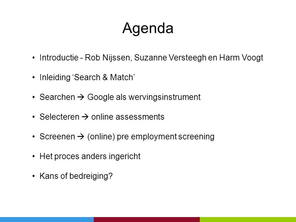 Agenda • Introductie - Rob Nijssen, Suzanne Versteegh en Harm Voogt • Inleiding 'Search & Match' • Searchen  Google als wervingsinstrument • Selecter