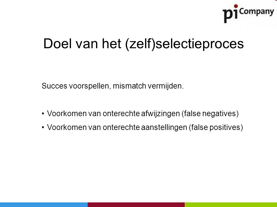 Succes voorspellen, mismatch vermijden. •Voorkomen van onterechte afwijzingen (false negatives) •Voorkomen van onterechte aanstellingen (false positiv