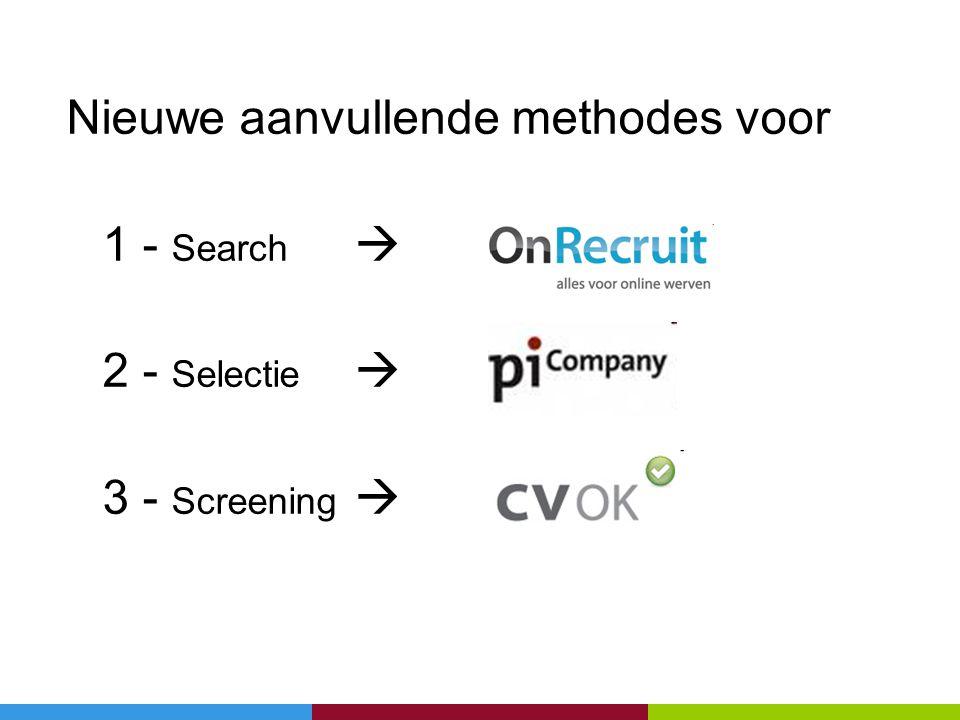 Nieuwe aanvullende methodes voor 1 - Search  2 - Selectie  3 - Screening 