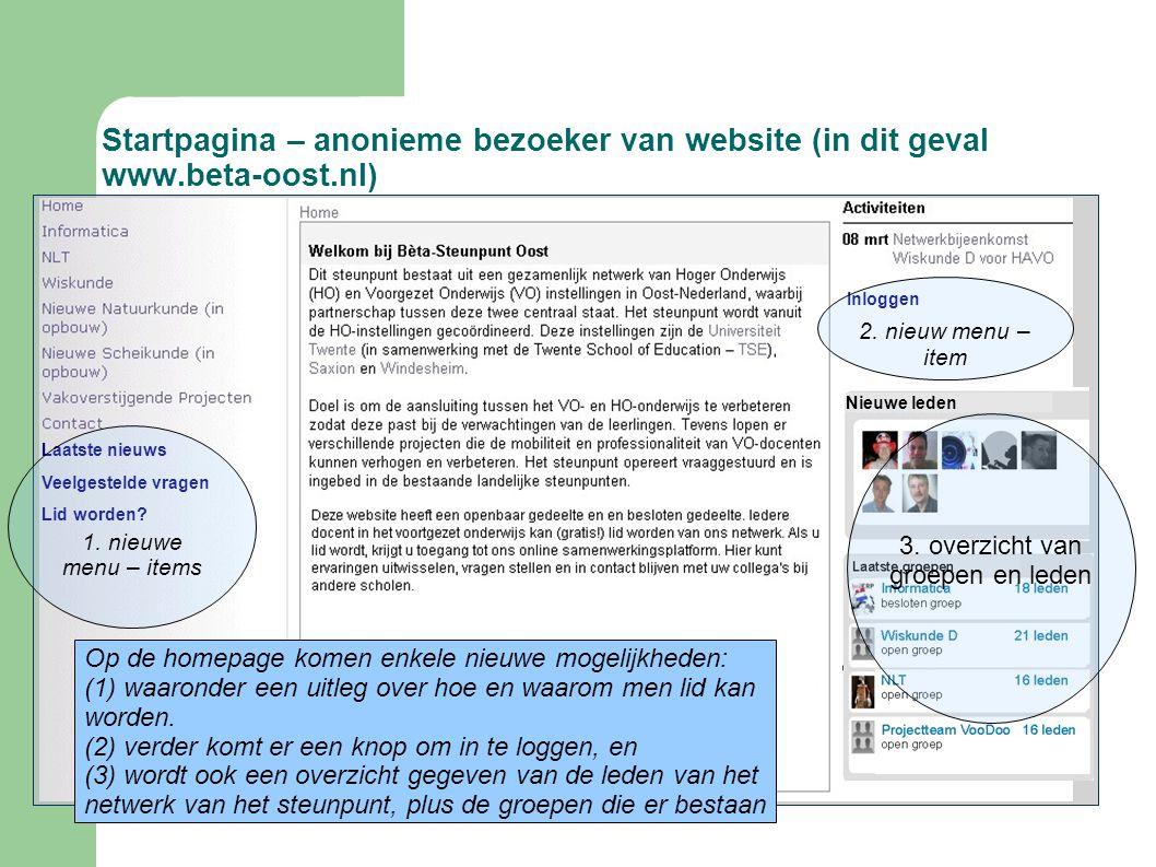 Startpagina – anonieme bezoeker van website (in dit geval www.beta-oost.nl) Laatste nieuws Veelgestelde vragen Lid worden? Inloggen 1. nieuwe menu – i