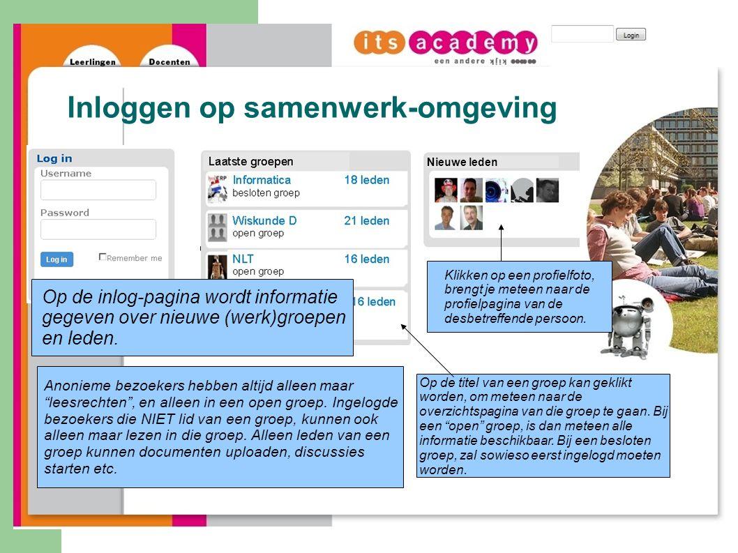 Inloggen op samenwerk-omgeving Nieuwe leden Op de inlog-pagina wordt informatie gegeven over nieuwe (werk)groepen en leden.