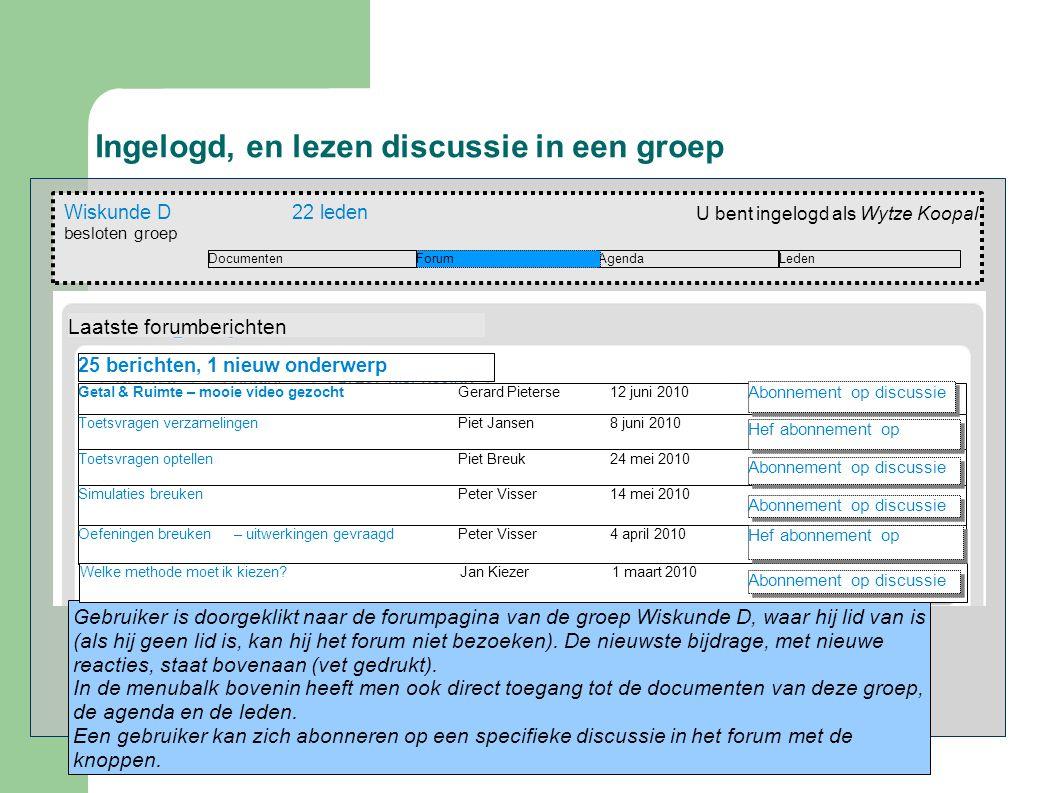 Ingelogd, en lezen discussie in een groep Wiskunde D22 leden besloten groep AgendaForumDocumenten U bent ingelogd als Wytze Koopal Leden Gebruiker is doorgeklikt naar de forumpagina van de groep Wiskunde D, waar hij lid van is (als hij geen lid is, kan hij het forum niet bezoeken).