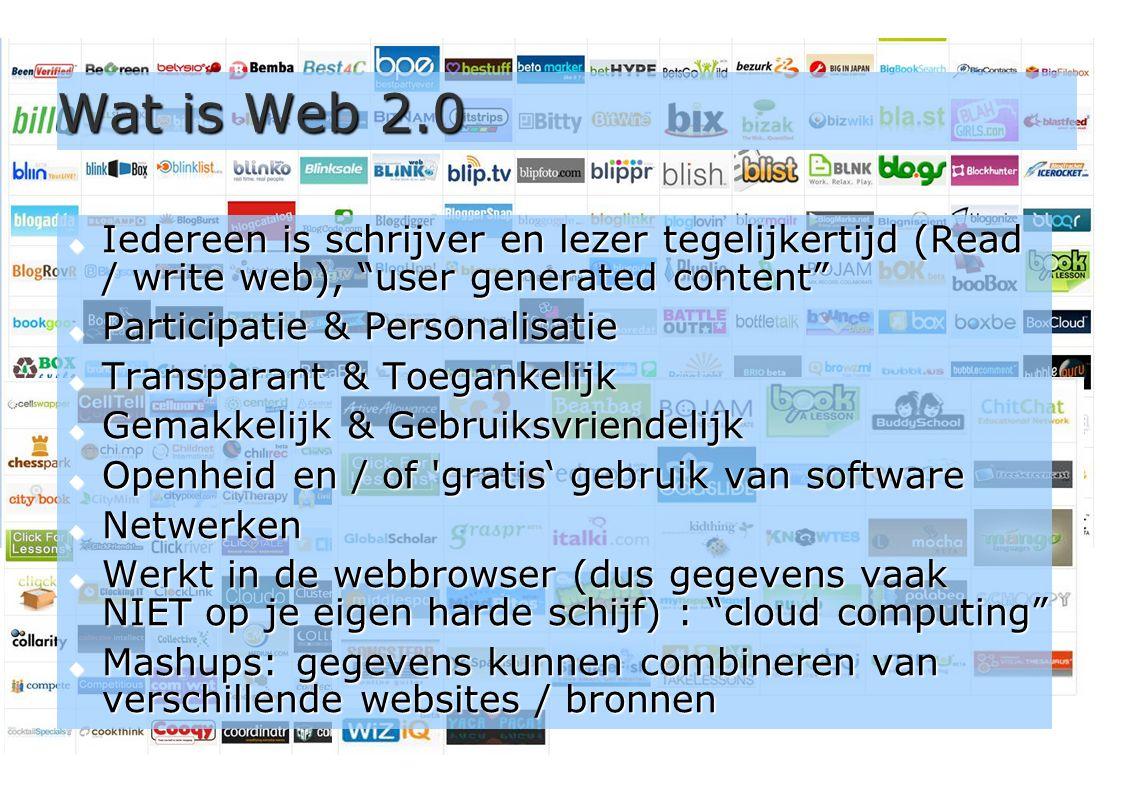 6 Wat is Web 2.0 (enkele merken)  Video delen: YouTube, leraar24.nl, teleblik.nl  Foto s delen en bewerken: Flickr, Picnik  Weblogs: Blogger, Wordpress, weblog.nl  Wiki s: wikiwijs.nl, wikipedia, PBwiki, WetPaint  Microblogging: Twitter, Yammer  Audio/Video conferencing: Skype, MSN  Presentaties delen: slideshare.net  Live video streaming: Qik.com, ustream.tv  Sociale netwerken: Hyves, LinkedIn, Plaxo, Ning, Elgg  Les/leermateriaal delen: digischool.nl, klascement.net  Beleidsstukken delen: mbomarktplaats.nl  Samenwerken: wiki's, google docs, huddle.net,