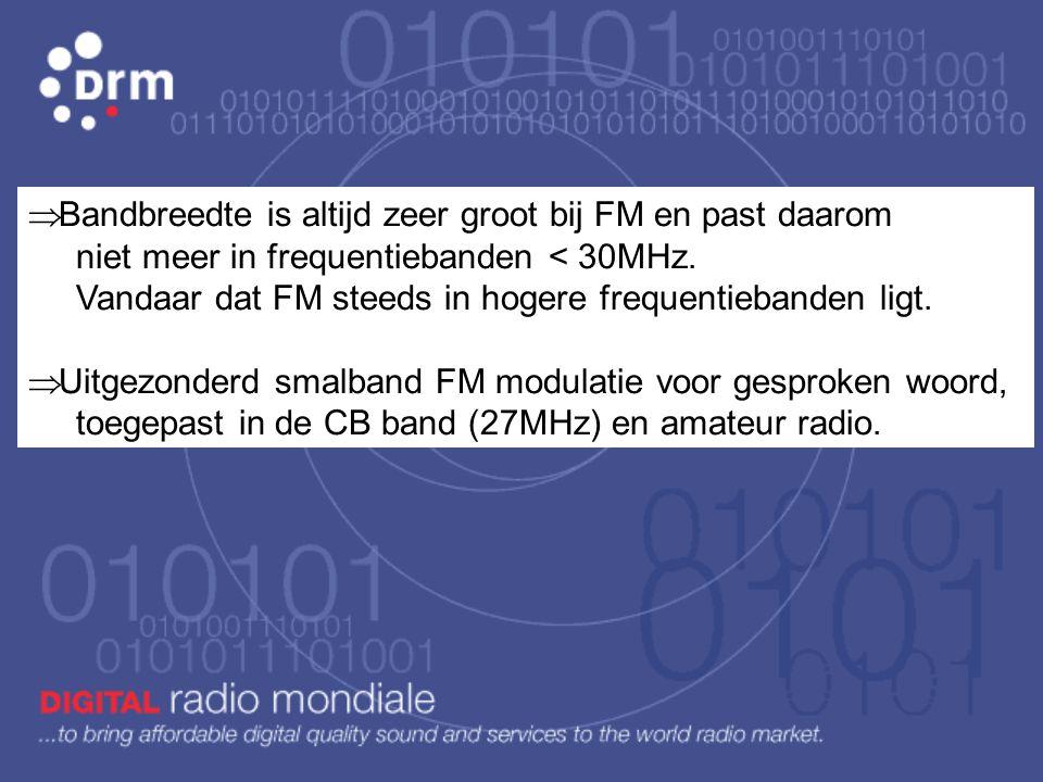 FM: de frequentie van de draaggolf wordt gewijzigd door de modulerende informatie (muziek – gesproken woord) Bandbreedte, dit is wat in de ether aan f