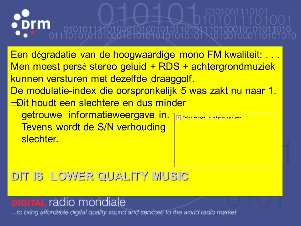 R é sum é : FM is een zeer complexe (Bessel functie) maar een veel eenvoudigere modulatietechniek dan AM.  De hoogste weer te geven frequentie is 15k