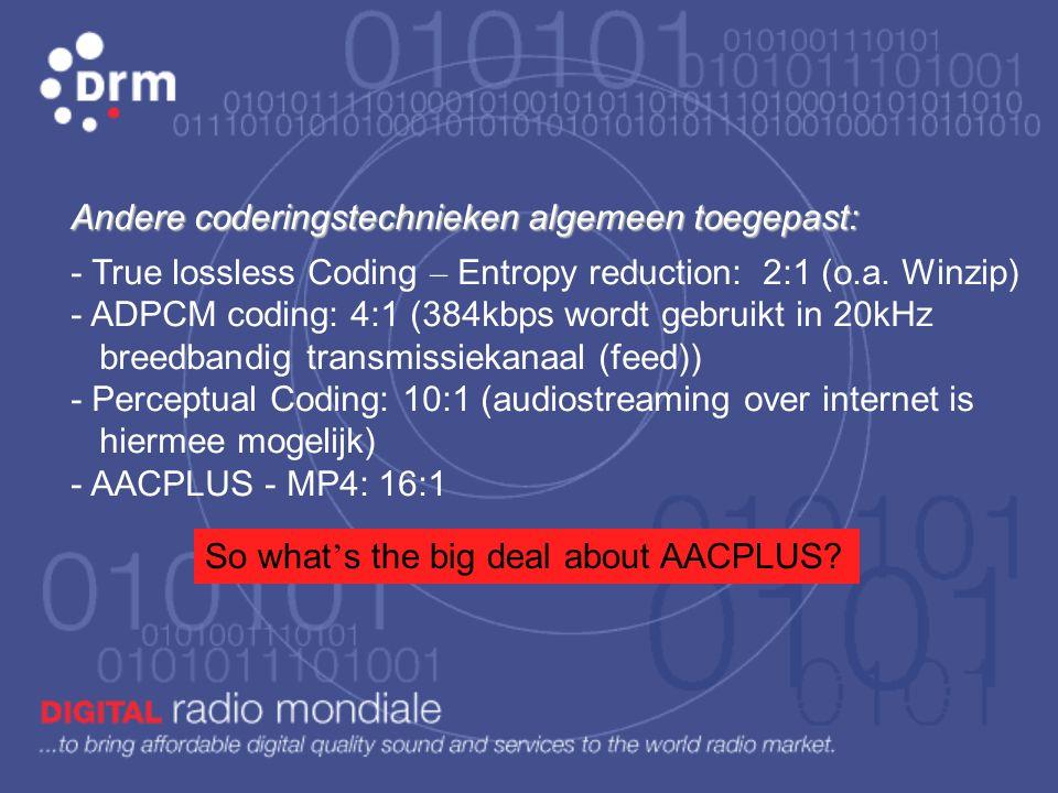 Digitale audio compressie is gebaseerd op: 1) geluid (frequentie - tonen) onder en boven de gehoordrempel (30Hz - 15kHz) wordt niet gecodeerd. 2) zwak