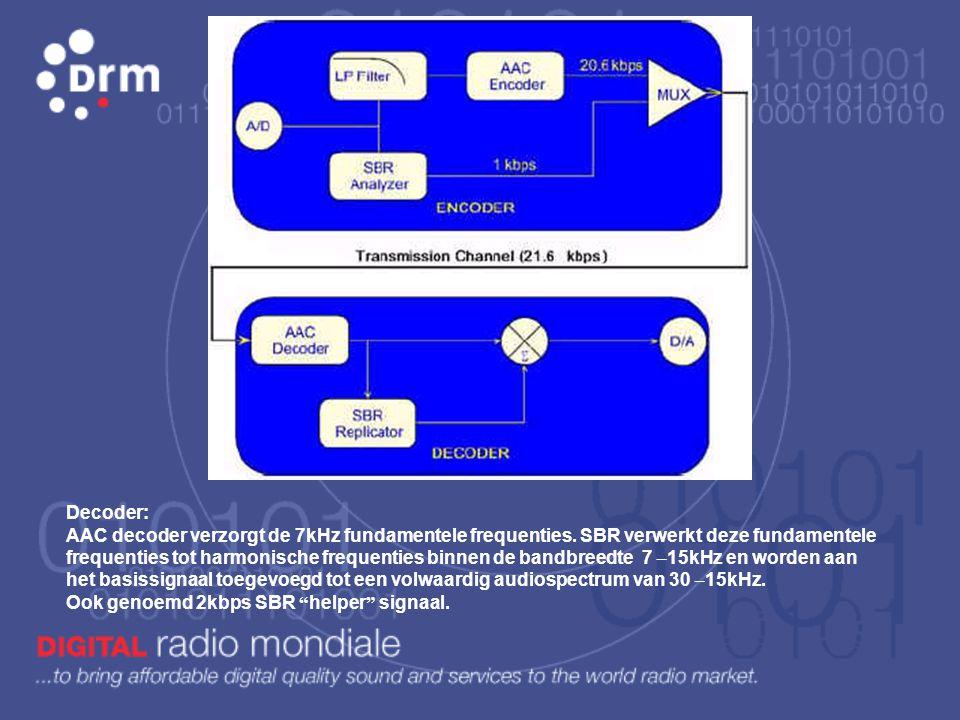 D rm gebruikt 3 verschillende audio codes: AAC, MPEG4-CELP en HVXC. Deze laatste 2 zijn specifiek voor spraak en dus lage bit rate.