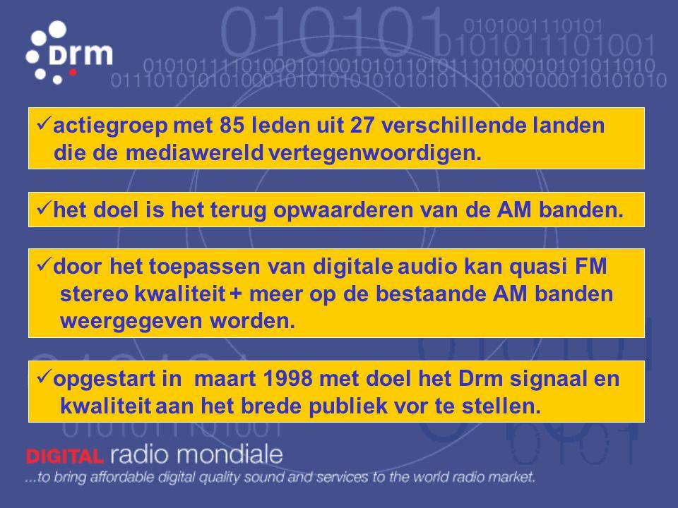 D rm Digital Rights Management Digital Multimedia Broadcast Digital r adio m ondiale Muziek in quasi FM stereo kwaliteit op de AM banden voor uitzendf