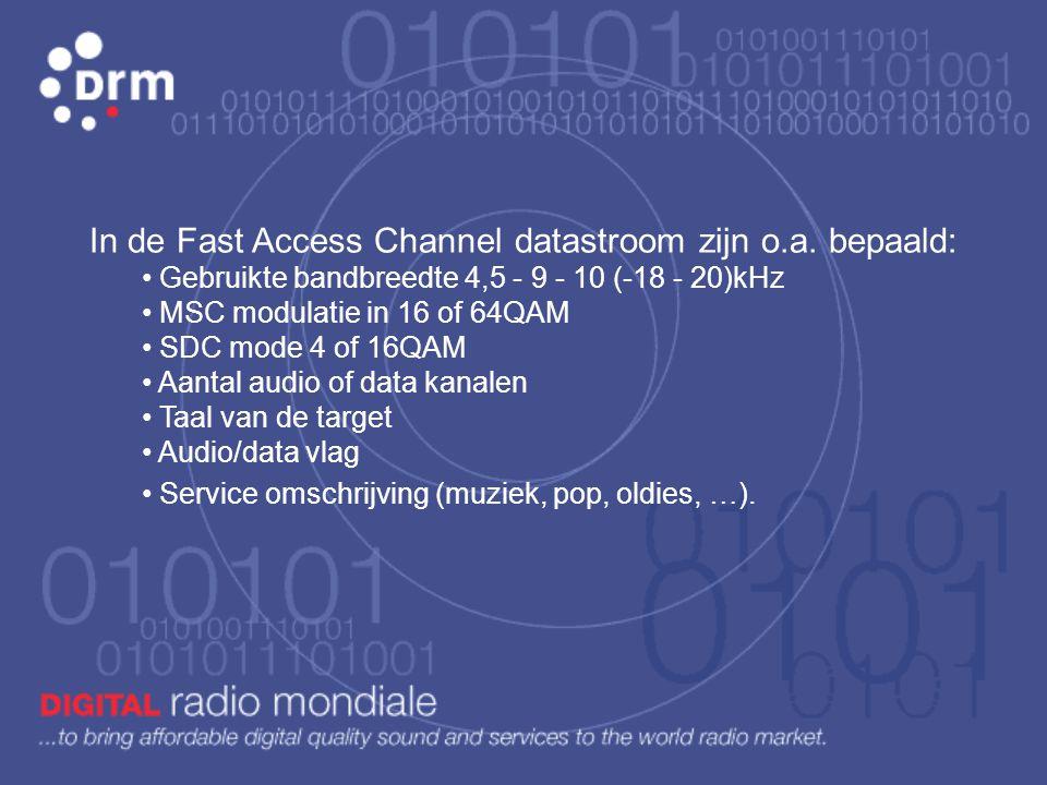 FAC: Fast Access Channel • Zeer robuust en omvat relatief weinig data. • Steeds gemoduleerd in 4QAM. • Omvat de initi ë le data en specifieke technisc