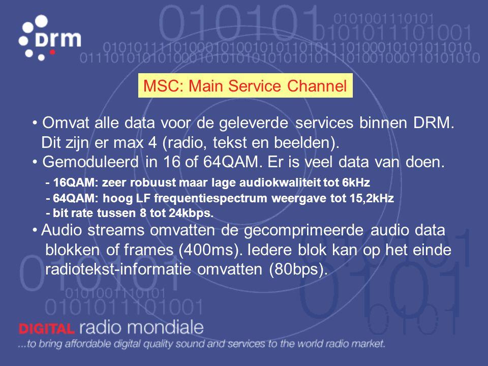 SDC: Service Description Channel • Voldoende robuust en omvat eveneens weinig data. • Gemoduleerd in 4 of 16QAM. • Omvat informatie over de beschikbar