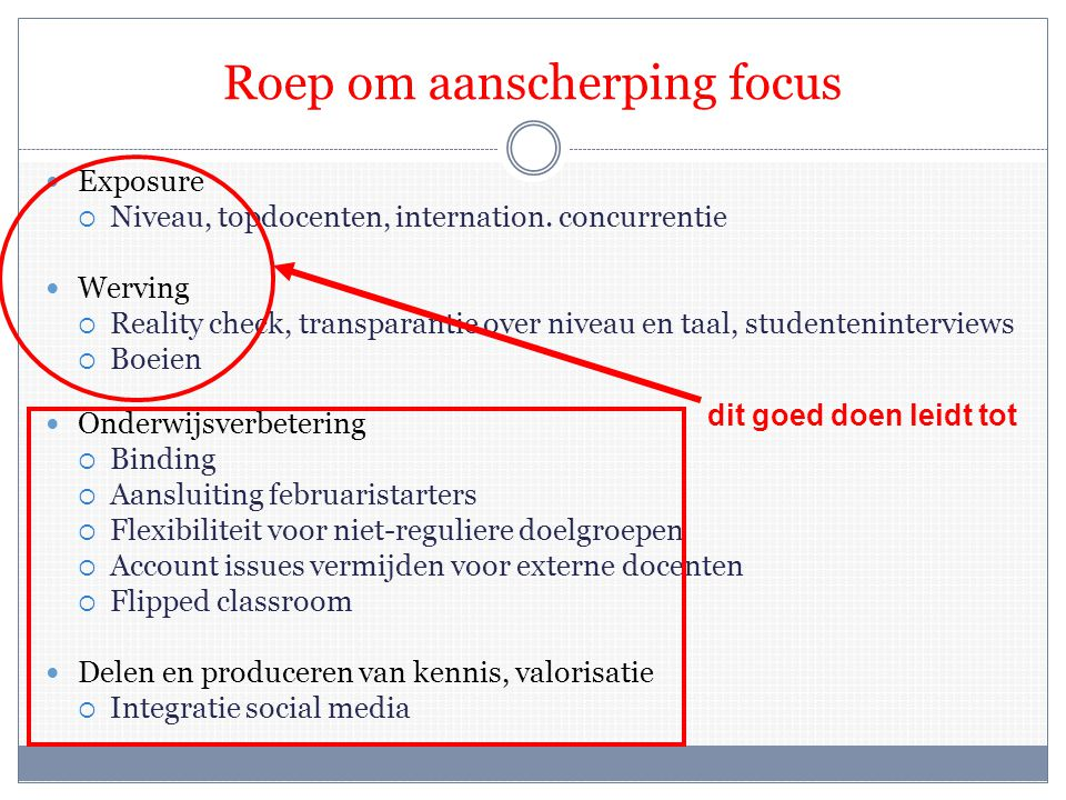 Roep om aanscherping focus  Exposure  Niveau, topdocenten, internation.