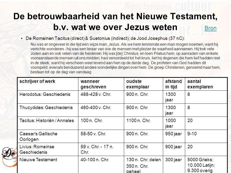 12 De betrouwbaarheid van het Nieuwe Testament, b.v. wat we over Jezus weten •De Romeinen Tacitus (direct) & Suetonius (indirect); de Jood Josephus (3