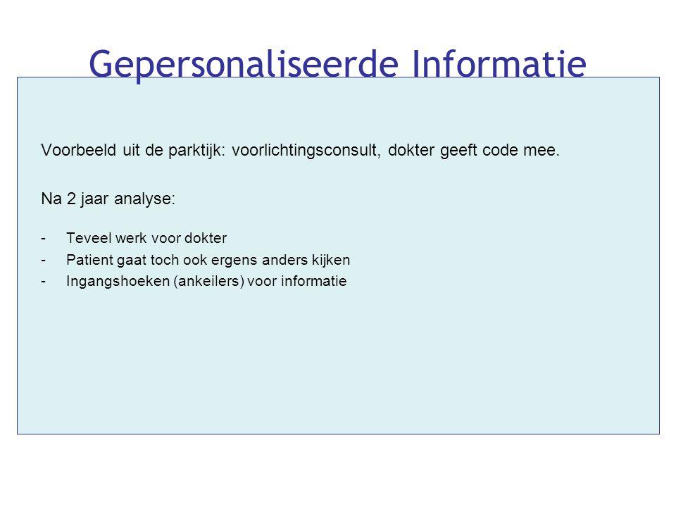 Gepersonaliseerde Informatie Voorbeeld uit de parktijk: voorlichtingsconsult, dokter geeft code mee. Na 2 jaar analyse: -Teveel werk voor dokter -Pati