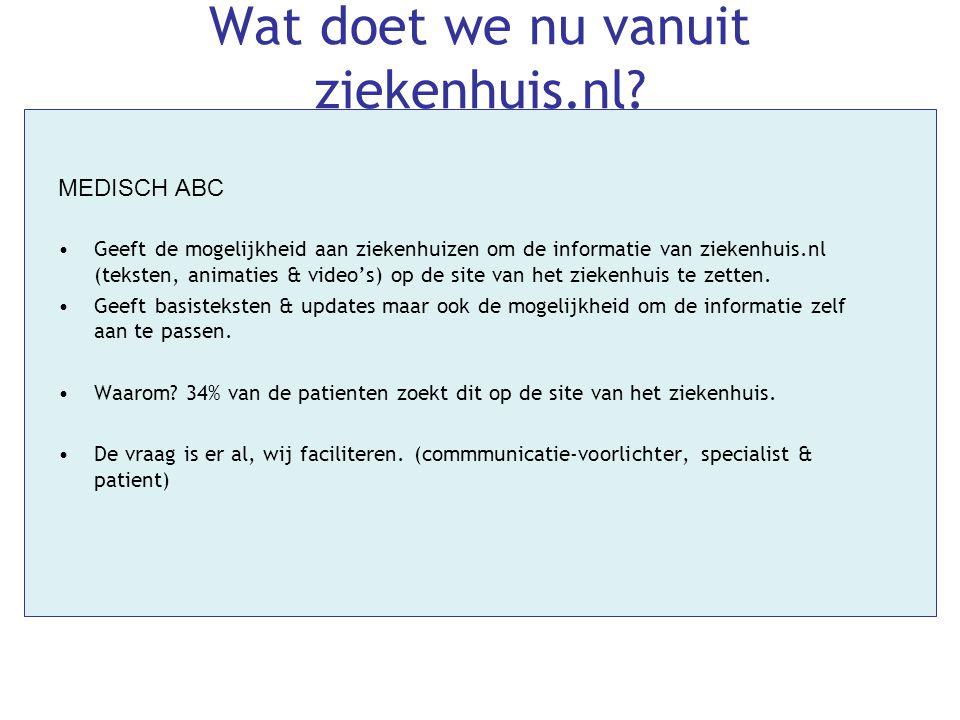 Wat doet we nu vanuit ziekenhuis.nl? MEDISCH ABC •Geeft de mogelijkheid aan ziekenhuizen om de informatie van ziekenhuis.nl (teksten, animaties & vide