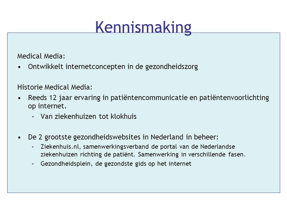 Kennismaking Medical Media: •Ontwikkelt internetconcepten in de gezondheidszorg Historie Medical Media: •Reeds 12 jaar ervaring in patiëntencommunicat