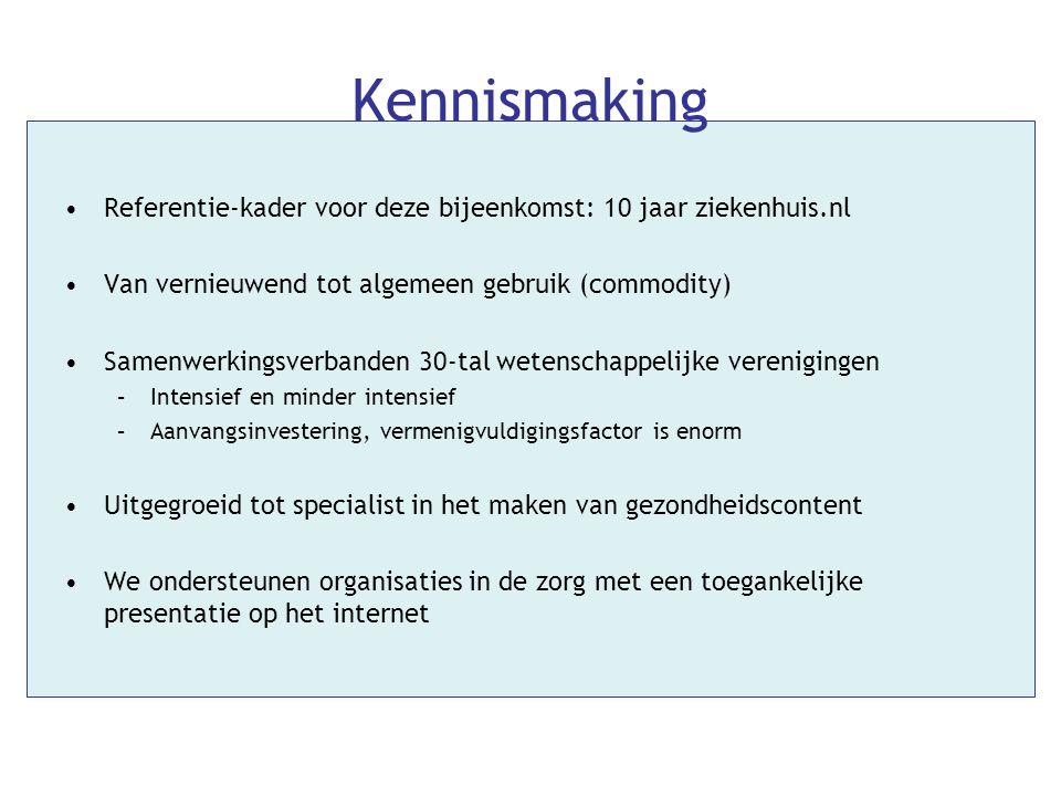 Kennismaking •Referentie-kader voor deze bijeenkomst: 10 jaar ziekenhuis.nl •Van vernieuwend tot algemeen gebruik (commodity) •Samenwerkingsverbanden