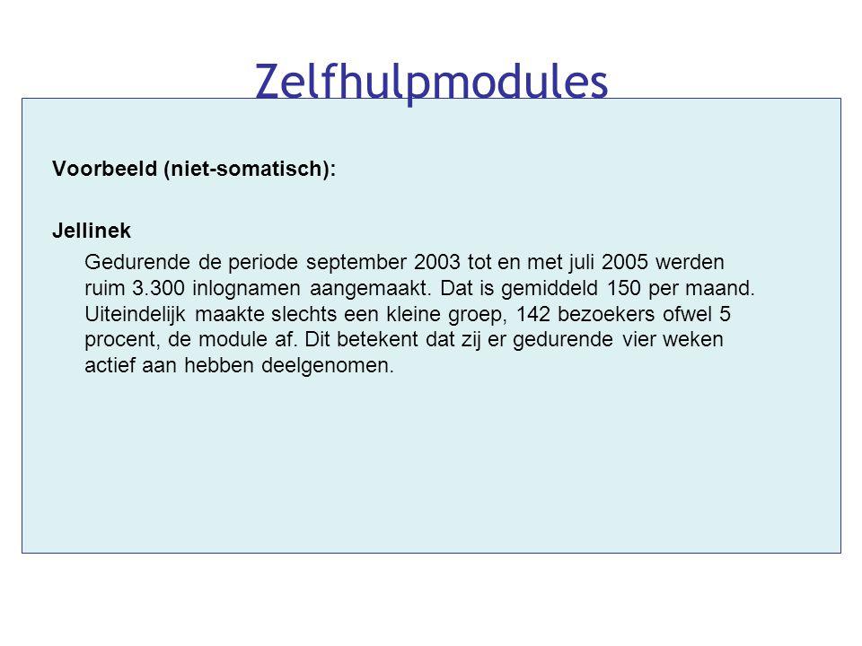 Voorbeeld (niet-somatisch): Jellinek Gedurende de periode september 2003 tot en met juli 2005 werden ruim 3.300 inlognamen aangemaakt. Dat is gemiddel