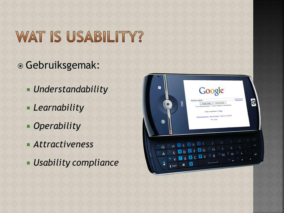  Gebruiksgemak:  Understandability  Learnability  Operability  Attractiveness  Usability compliance