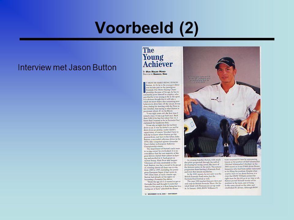 Voorbeeld (2) Interview met Jason Button
