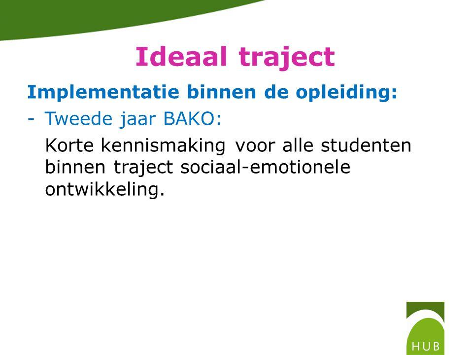 Ideaal traject Implementatie binnen de opleiding: -Tweede jaar BAKO: Korte kennismaking voor alle studenten binnen traject sociaal-emotionele ontwikkeling.