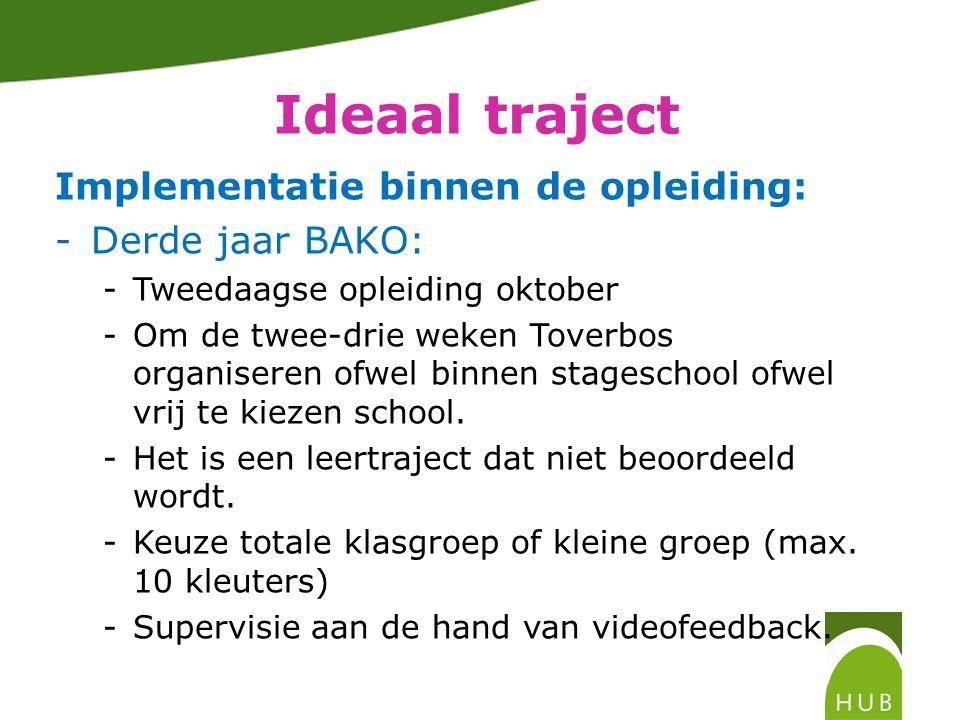 Ideaal traject Implementatie binnen de opleiding: -Derde jaar BAKO: -Tweedaagse opleiding oktober -Om de twee-drie weken Toverbos organiseren ofwel binnen stageschool ofwel vrij te kiezen school.