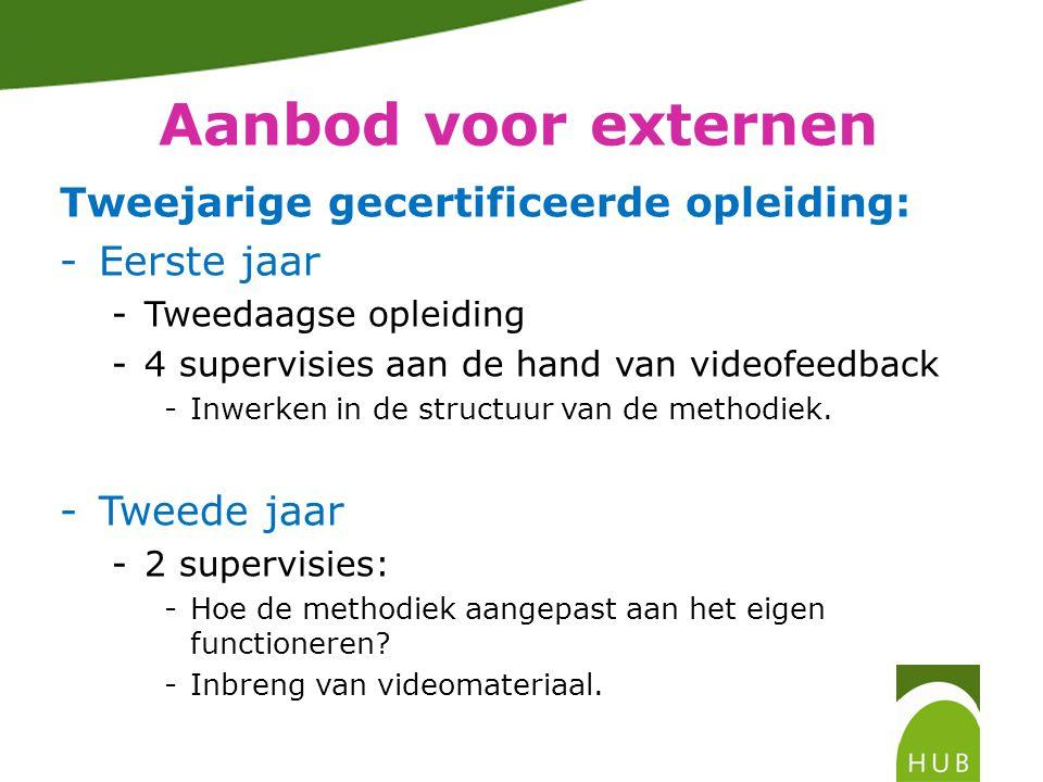 Aanbod voor externen Tweejarige gecertificeerde opleiding: -Eerste jaar -Tweedaagse opleiding -4 supervisies aan de hand van videofeedback -Inwerken in de structuur van de methodiek.