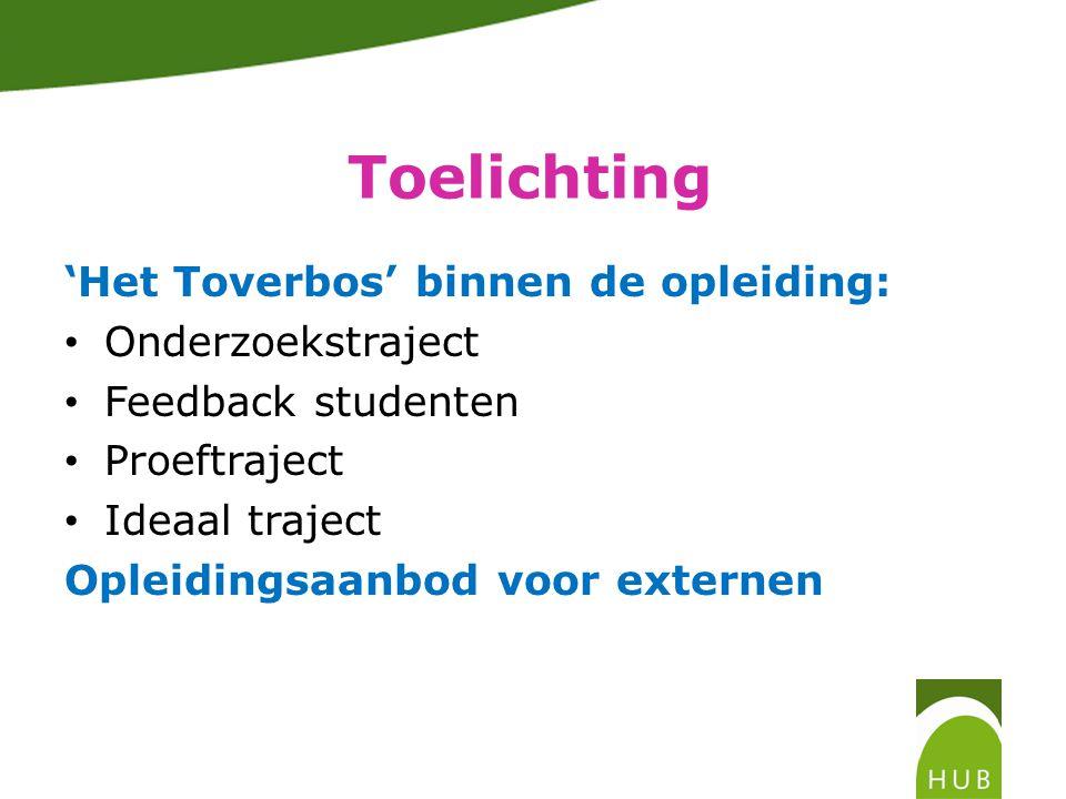 Toelichting 'Het Toverbos' binnen de opleiding: • Onderzoekstraject • Feedback studenten • Proeftraject • Ideaal traject Opleidingsaanbod voor externen