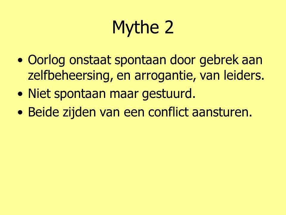 Mythe 2 •Oorlog onstaat spontaan door gebrek aan zelfbeheersing, en arrogantie, van leiders.