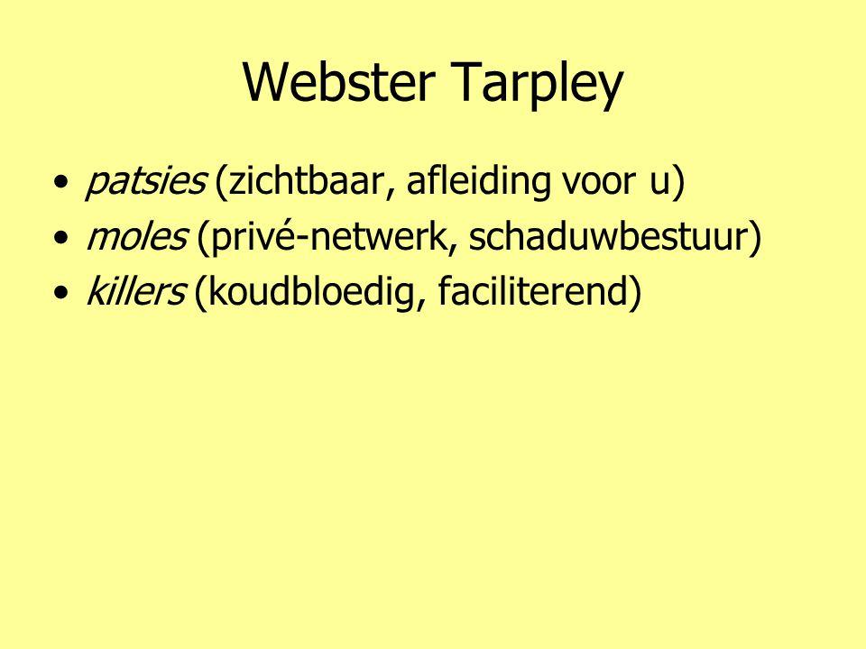 Webster Tarpley •patsies (zichtbaar, afleiding voor u) •moles (privé-netwerk, schaduwbestuur) •killers (koudbloedig, faciliterend)