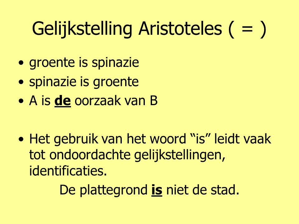 """Gelijkstelling Aristoteles ( = ) •groente is spinazie •spinazie is groente •A is de oorzaak van B •Het gebruik van het woord """"is"""" leidt vaak tot ondoo"""