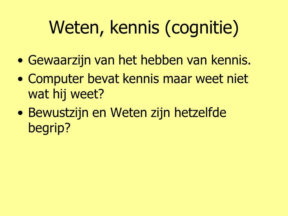 Weten, kennis (cognitie) •Gewaarzijn van het hebben van kennis. •Computer bevat kennis maar weet niet wat hij weet? •Bewustzijn en Weten zijn hetzelfd