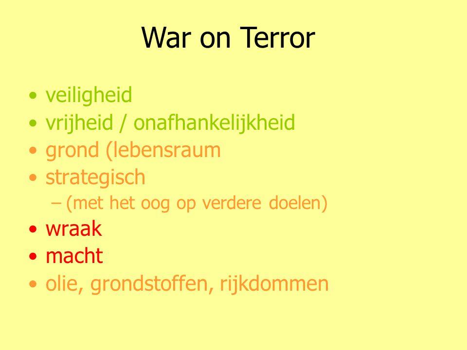 •veiligheid •vrijheid / onafhankelijkheid •grond (lebensraum •strategisch –(met het oog op verdere doelen) •wraak •macht •olie, grondstoffen, rijkdommen Het wenselijke van oorlog War on Terror